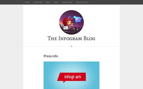 Screenshot of Press Page infogr.am - The Infogram Blog - Press info - captured Sept. 16, 2014