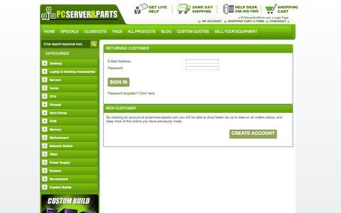 Screenshot of Login Page pcserverandparts.com captured Oct. 28, 2014