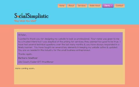Screenshot of Testimonials Page socialsimplistic.com - Testimonials - Social Simplistic - captured Oct. 9, 2014