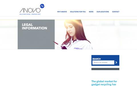 Screenshot of Terms Page anovo.com - Legal Information | ANOVO - captured Sept. 30, 2014