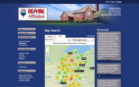 Screenshot of Maps & Directions Page chippewavalleyproperties.com - Map Search   Residential Homes for Sale Remax Affiliates - captured Feb. 14, 2016