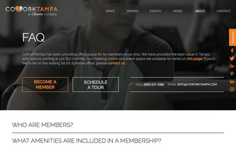 Screenshot of FAQ Page coworktampa.com - Faq | CoworkTampa - captured July 14, 2016