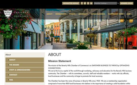 Screenshot of About Page beverlyhillschamber.com - About The Chamber | Beverly Hills Chamber of Commerce - captured Oct. 5, 2018
