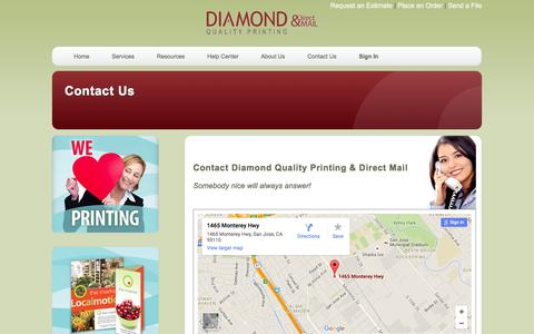 Screenshot of Contact Page diamondqualityprinting.com - Diamond Quality Printing & Direct Mail: Contact Us - captured Feb. 9, 2016