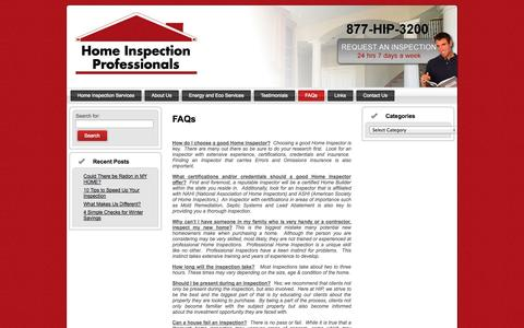 Screenshot of FAQ Page homeinspectionprofessionals.com - Home Inspection - Frequently Asked Questions | Home Inspection Professionals - captured Sept. 30, 2014