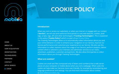 Screenshot of Terms Page mobilda.com - Cookie Policy – Mobilda - captured Oct. 16, 2018