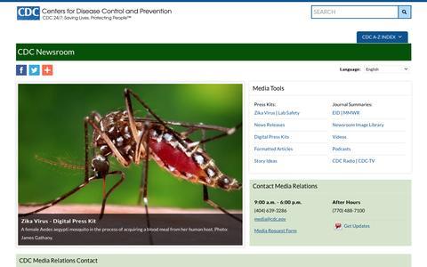 Screenshot of Press Page cdc.gov - CDC Newsroom    CDC Online Newsroom   CDC - captured July 3, 2016