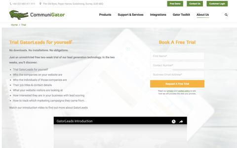 Screenshot of Trial Page communigator.co.uk - Free Trial | CommuniGator - captured July 20, 2018