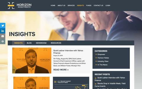 Screenshot of Blog Press Page horizoninvestments.com - Insights | Horizon Investments - captured Aug. 24, 2019