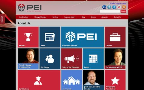 Screenshot of About Page pei.com - About Us - PEI - captured Oct. 10, 2014
