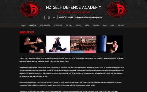 Screenshot of About Page selfdefenceacademy.co.nz - About us - Self Defence Academy - captured Oct. 7, 2014