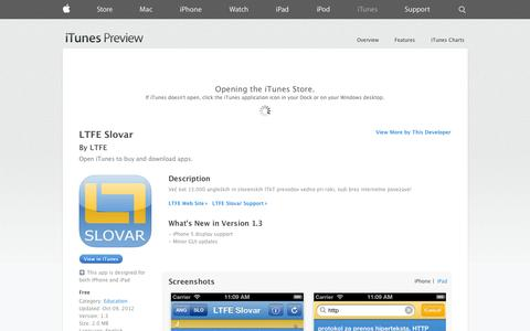 Screenshot of iOS App Page apple.com - LTFE Slovar on the App Store on iTunes - captured Oct. 22, 2014