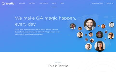 Screenshot of About Page testlio.com - About Us - Testlio - captured April 30, 2017