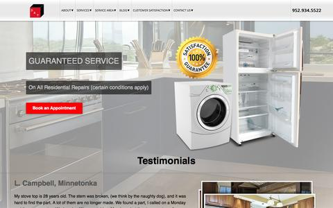 Screenshot of Testimonials Page dtappliance.com - Testimonials - D & T Appliance Repair - captured Oct. 5, 2014