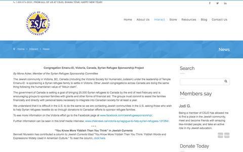 Screenshot of Press Page csjo.org - News – Congress of Secular Jewish Organizations - captured Jan. 31, 2016