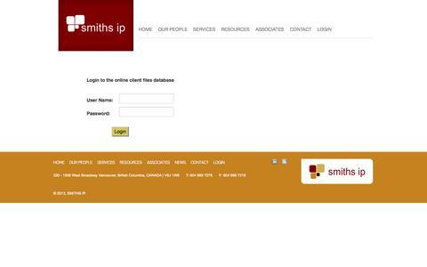 Screenshot of Login Page smithsip.com - Login - SMITHS IP - captured Sept. 30, 2014