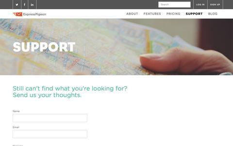 Screenshot of Support Page expresspigeon.com - Email markering service support   ExpressPigeon - captured Dec. 13, 2015