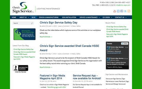 Screenshot of Blog chrissigns.com - Chris's Sign Service – Sign Design, Installation and Maintenance Vancouver BC | Chris Signs Service | Best Sign Service and Maintenance in Vancouver - captured Oct. 2, 2014