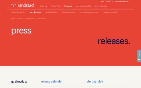 Screenshot of Press Page randstad.com - press releases | Randstad - captured April 12, 2018