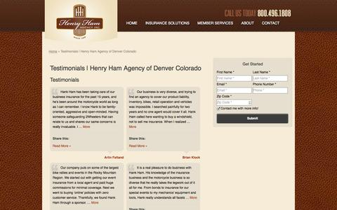 Screenshot of Testimonials Page henryham.com - Testimonials | Henry Ham Agency of Denver Colorado - captured Oct. 2, 2014