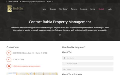 Screenshot of Contact Page miami-propertymanagement.com - Contact Bahia Property Management - captured June 18, 2016