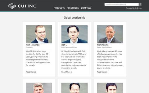 Screenshot of Team Page cui.com - Leadership | CUI Inc - captured Sept. 23, 2018