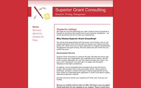 Screenshot of Home Page superiorgrantconsulting.com - Superior Grant Consulting - Home - captured Oct. 7, 2014