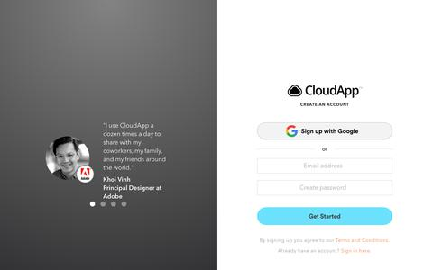 Screenshot of Signup Page getcloudapp.com - Sign Up | CloudApp is a video and image sharing platform for professionals - captured Jan. 16, 2019