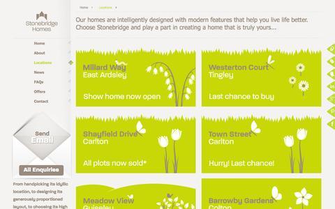 Screenshot of Locations Page stonebridgehomes.co.uk - New Homes in Yorkshire | Stonebridge Homes - captured Oct. 7, 2014
