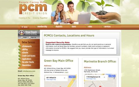 Screenshot of Contact Page Locations Page Hours Page pcmcu.com - Contact and Location Information | PCM Credit Union - captured Jan. 22, 2016