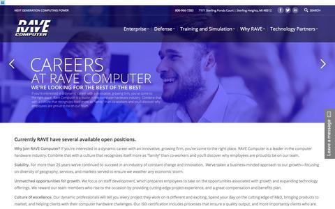 Screenshot of Jobs Page rave.com - Careers - RAVE Computer - captured Oct. 19, 2017