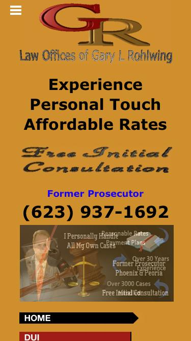 Screenshot of Home Page  criminal-duiattorney.com - Criminal Defense Attorney | Criminal Lawyer | DUI Attorney - Gary Rohlwing Attorney