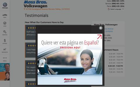 Screenshot of Testimonials Page mossbrosvwofmorenovalley.com - Moss Bros. Volkswagen | New Volkswagen dealership in Moreno Valley, CA 92555 - captured Oct. 21, 2017