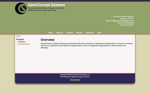 Screenshot of Products Page openconceptsystems.com - Overview | OpenConcept Systems - captured Oct. 9, 2014
