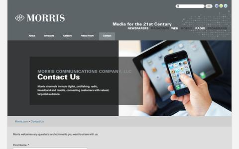 Screenshot of Contact Page morris.com - Contact Us | Morris Communications - captured Sept. 19, 2014