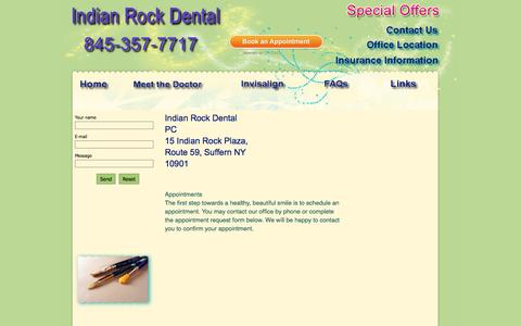 Screenshot of Contact Page indianrockdental.com - Contact Info - - captured Sept. 30, 2014