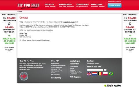 Screenshot of Contact Page fitforfree.nl - Vraag, klacht of suggestie? Neem contact op met de F4F klantenservice! - captured Sept. 19, 2014