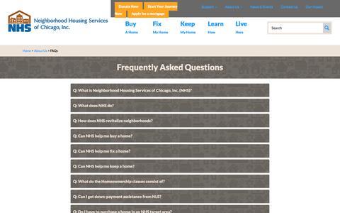 Screenshot of FAQ Page nhschicago.org - FAQs  | NHS Chicago - captured Nov. 12, 2017