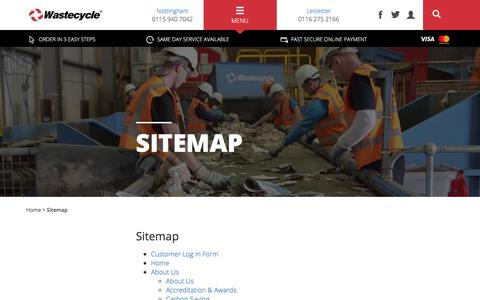 Screenshot of Site Map Page wastecycle.co.uk - Sitemap | Wastecycle - captured Nov. 11, 2017