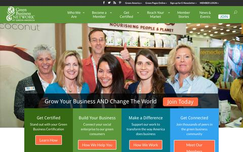 Screenshot of Home Page greenbusinessnetwork.org - Green America's Green Business Network - captured Dec. 14, 2015