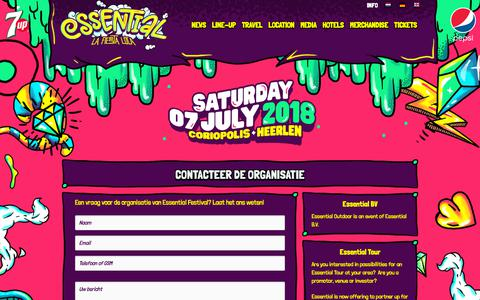 Screenshot of Contact Page essentialfestival.nl - Contact - captured Sept. 29, 2018