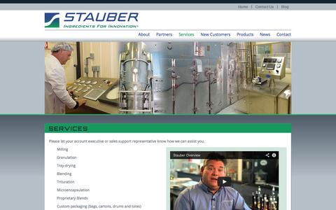 Screenshot of Services Page stauberusa.com - Services - captured Oct. 3, 2014