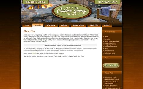 Screenshot of About Page austinoutdoorliving.com - About Us - Austin Outdoor Living | Austin TX - captured Oct. 4, 2014