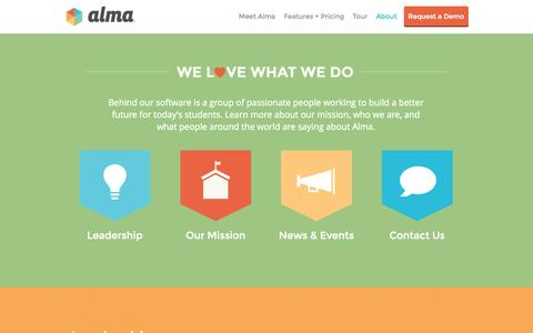 Screenshot of About Page getalma.com - About Alma | Mission-Driven K12 education software - captured Sept. 23, 2014