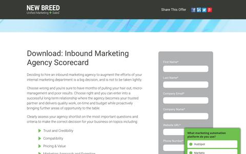Inbound Marketing Agency Scorecard | New Breed
