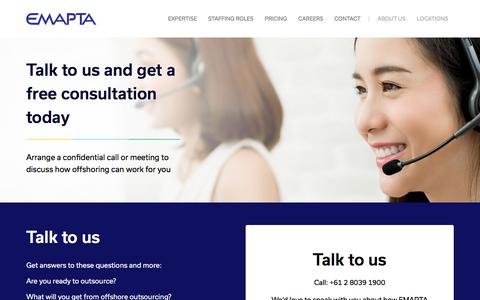 Screenshot of Contact Page emapta.com - Outsource your Team in the Philippines - Offshore Staffing | EMAPTA - captured Aug. 20, 2018