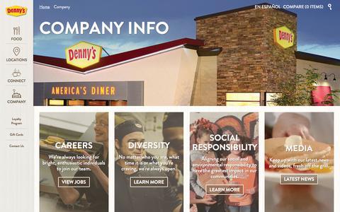 Screenshot of Jobs Page dennys.com - Company Info - Denny's - captured Jan. 7, 2016
