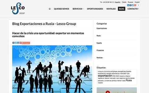 Screenshot of Blog lescogroup.es - Blog Exportaciones a Rusia - Lesco Group - captured Oct. 8, 2016