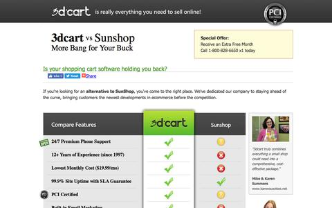 Screenshot of Landing Page 3dcart.com - Sunshop versus 3dCart. Complete Feature Comparison. - captured Aug. 18, 2016