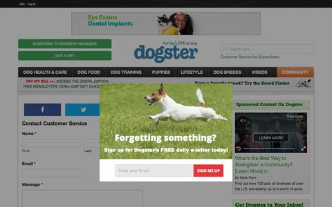 Screenshot of Support Page dogster.com - Contact Customer Service - Dogster - captured Dec. 5, 2019